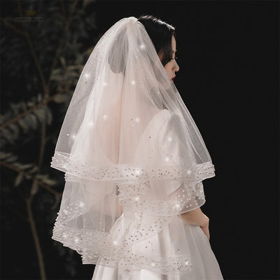 BV84 Beaded Two Layer Wedding Veils