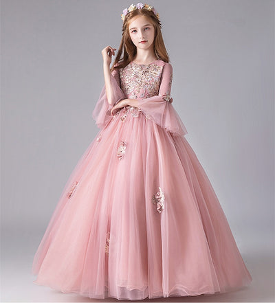 FG255 3/4 flare sleeves Princess Girl Dress for(1-14 yrs)