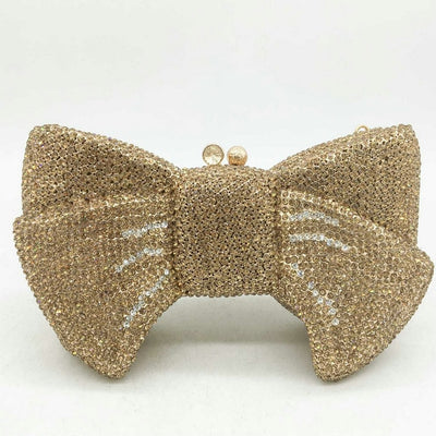 CB251 Luxurious Bow shaped diamond Evening Clutch Bags (4 Colors )