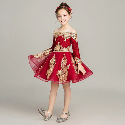 FG159 Red Wine Shoulderless Embroidery Lace Girl Dresses(3 Styles)