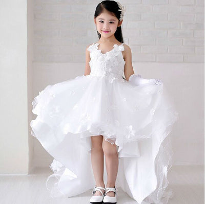 Fg252 Short Front Long Back White Flower Girl Dress Nirvanafourteen