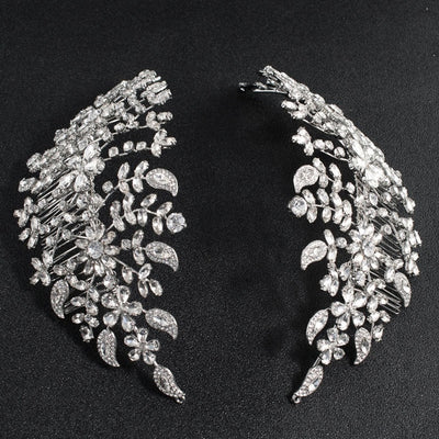 BJ86 Big Crystals plant Bridal hair comb