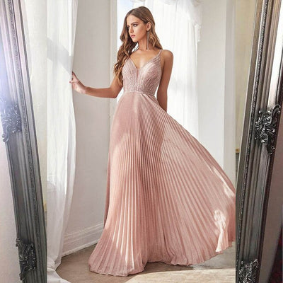 PP298 Pink Spaghetti Straps Beaded Pleats Prom Dresses