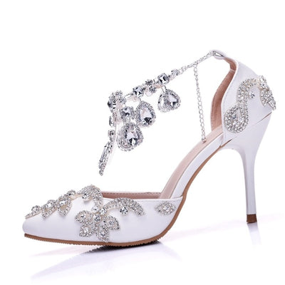 BS17 Crystal Buckle Strap Bridal Heels