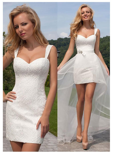 Simple Short  beach Wedding Dress with detachable skirt