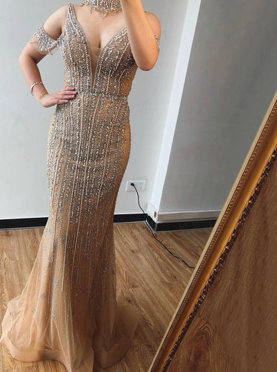 Sexy unique design champagne pearls diamond Evening Gown(2 Colors)