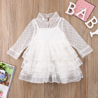 FG184 Long sleeve White tulle Girl Dresses