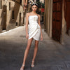 SS74 Simple Strapless Short Wedding Dress