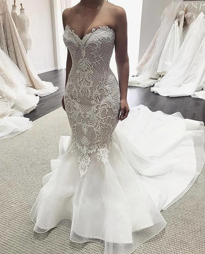 Luxury Sweetheart Neck Off the Shoulder Mermaid Wedding Dress