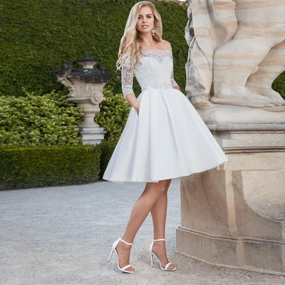 SS115 : 3/4 sleeves Off the shoulder Short Wedding Dress