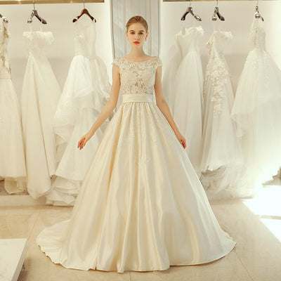 CW171 Vintage A Line cap sleeve Bridal dress