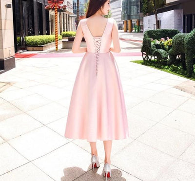 BH175 : 3 styles Simple Pink Bridesmaid dresses