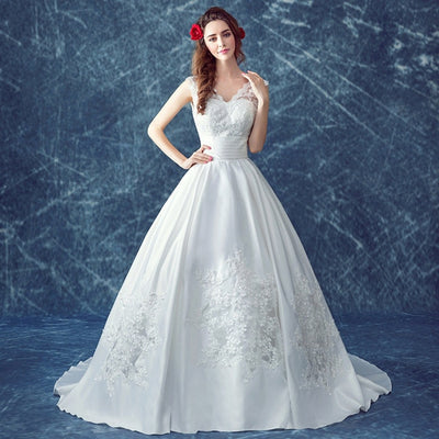 CW205 Simple Satin Lace A line  Bridal Gown