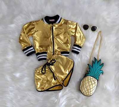 FG152 Set of cool girl metallic Jacket +Short Pant