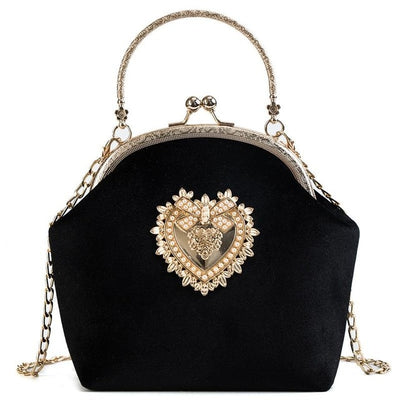 CB79 Vintage Velour Heart Design Prom Clutch Bags( 5 Colors)