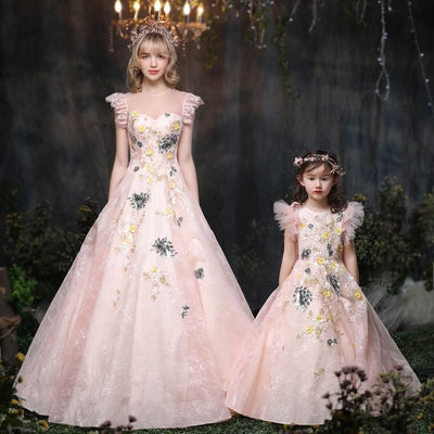 MM26 Light Orange Mother & Daughter Matching Gowns