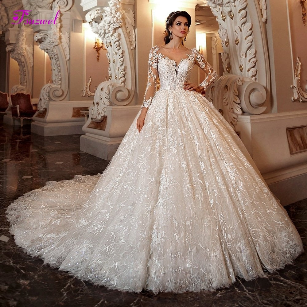 Gorgeous Appliques Lace Ball Gown Wedding Dress With Chapel Train Nirvanafourteen
