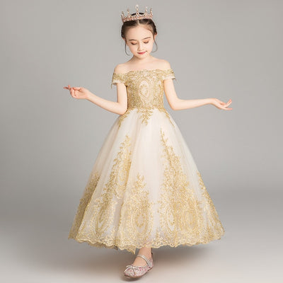 FG170 : 9 Styles Gold Embroidery Flower Girl Dresses
