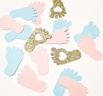 100pcs Baby Footprint Confetti For DIY Party Decorations