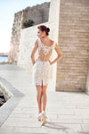 SS142 : Short wedding dress with removable skirt