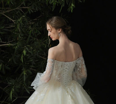 Real Sample picture Off the shoulder puff sleeves Wedding dress