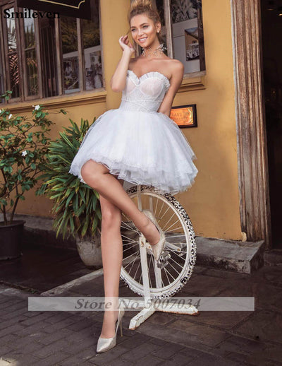SS77 Sweetheart A Line Short Wedding Dress with removable Puff Sleeve