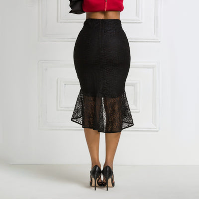 CK39 Black Lace High Waist Skirt