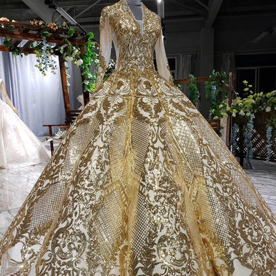 CG161 Real Picture Luxury Gold sequin beading Ball Gown