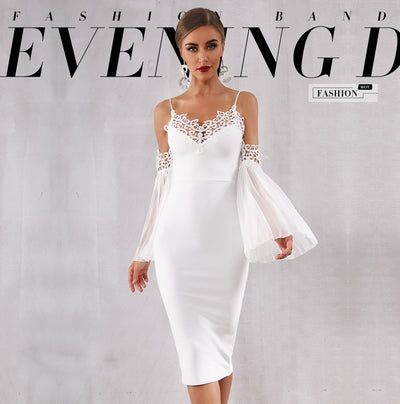 PP228 New design sexy flare sleeve white Cocktail Dress