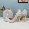 BS74: 7 Styles White full Pearl Bridal shoes+Purses