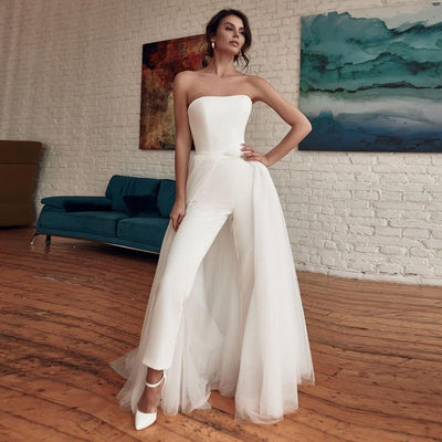 PD32 Strapless Jumpsuit Wedding Dress with Detachable Train