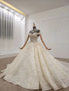 Handmade collar chain off shoulder glitter wedding gown