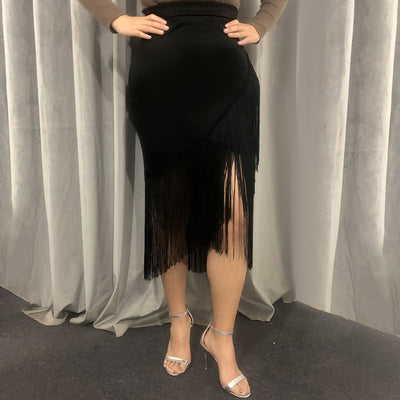 CK40 Plus size high waist Black Tassel skirts
