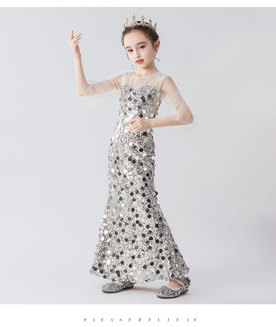 FG329 Silver sequin mermaid Girl Pageant dress