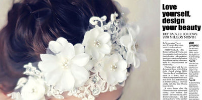 BJ33 Korean Style  Lace Big Flowers Bridal Hair Jewelry