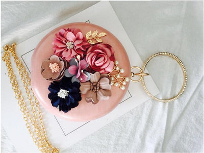 CB83 Handmade flowers minaudier evening clutch bags(5 Colors)