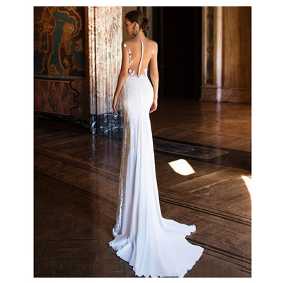 CW201 Sexy See Through Back soft satin mermaid Wedding Gowns