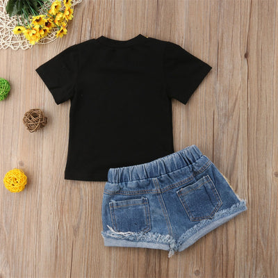 FG193 Fashion Sequined summer Outfit T-shirt+Denim Shorts
