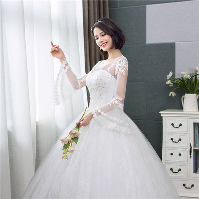 CW187 Cheap Long Flare Sleeve Wedding Dress
