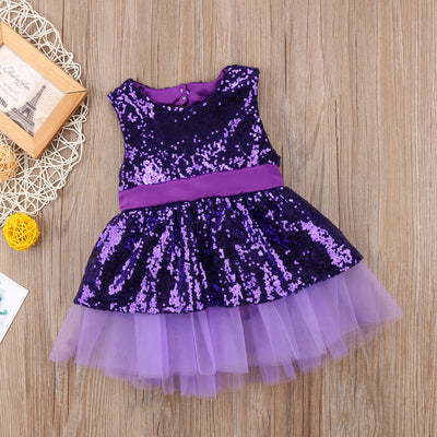 FG154 Sequins Backless with Big Bowknot Girl Dresses (3 Colors)
