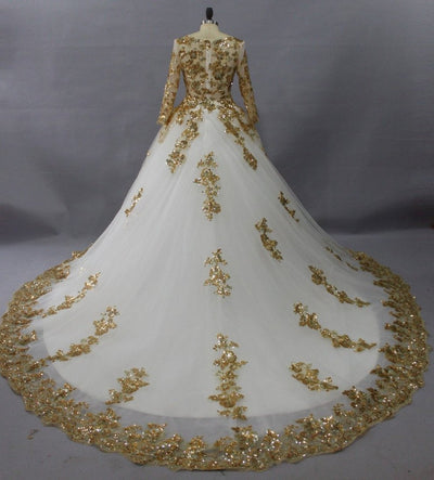 CG08 Plus Size White  with Gold Muslim Wedding Dresses