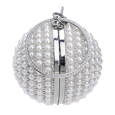 CB35 Ball shape Pearl Beaded Bridal Clutch Bags ( 3 Colors )