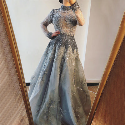 Luxury Grey Long Sleeves high neck diamond beaded Evening Gown