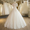 CW115 Real Photo Short Sleeve Lace Appliques A-Line Wedding Dress
