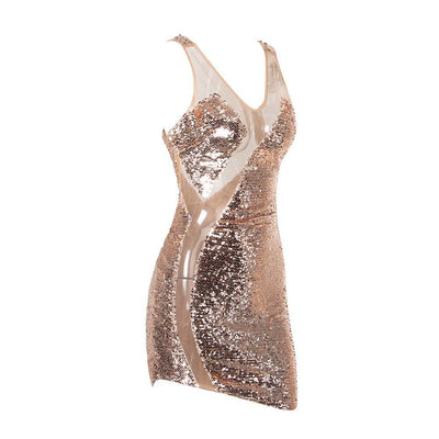 MX112 Rose Gold Sequins Sexy Party Dress