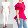 Fashion Summer O-Neck Ruffles Sleeve  Tops