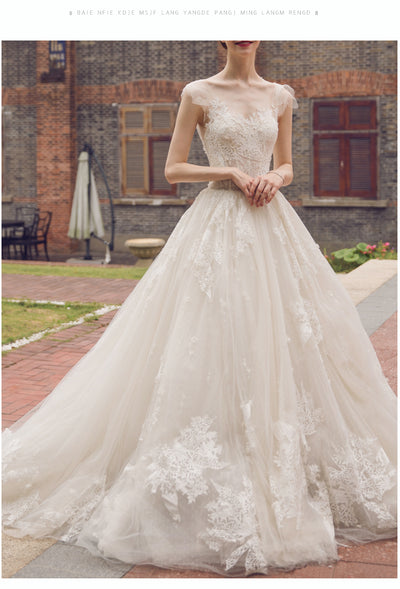 CW151 Dazzling lace Wedding gown with court train