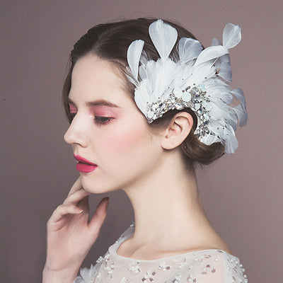 BJ29 Vintage White Peacock Feather Bridal Hair Accessories