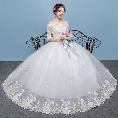 CW44 Plus size off the shoulder half sleeves Bridal dress
