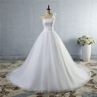 CW157 Real Photo One Shoulder A-Line Lace Wedding Dress